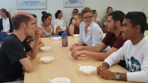 SASLI students at chatting at ice cream social