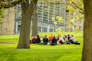 Students Studying on Bascom Hill in Spring