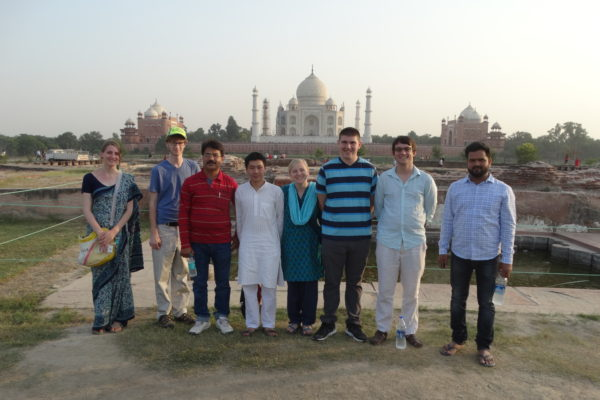 Students standing in front of the Taj Mahal
