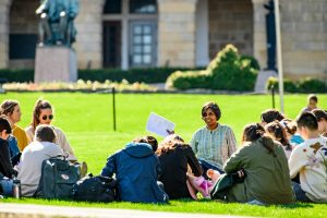 Students sitting on Bascom Hill